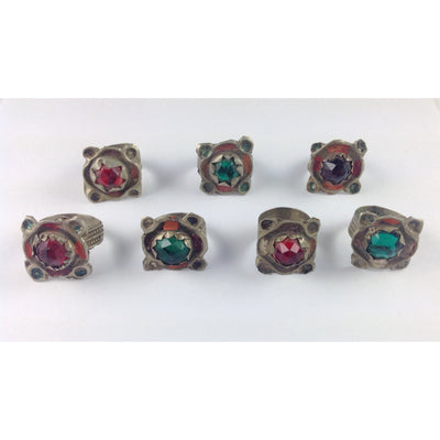 Colorful Traditional Moroccan Berber Glass and Metal Rings, Sold by the Group - Rita Okrent Collection (BR102)