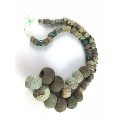 Ancient Egyptian Faience Beads with Mixed Ancient Glass Beads, from Egypt and West Africa - Rita Okrent Collection (AN275)