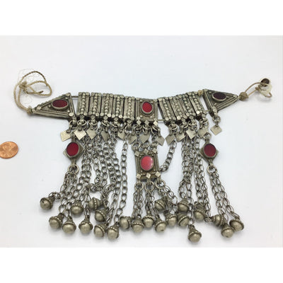 Traditional Yemeni Silver Bridal Wedding Necklace or Headdress with Red Glass Settings and Dangles - Rita Okrent Collection (C689)