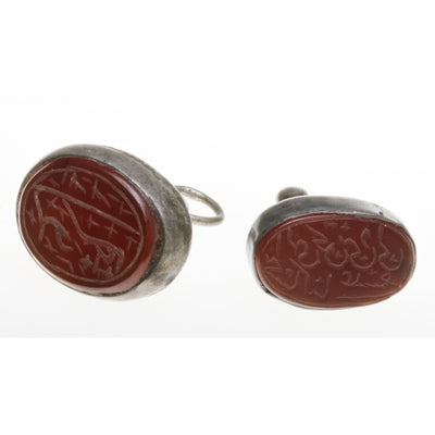Vintage Silver Mounted Carved Carnelian Seals, Iran, from the Collection of Robert Liu - C655