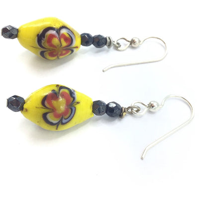 Bright Yellow Antique Venetian Glass Beaded Earrings - Rita Okrent Collection (E358)