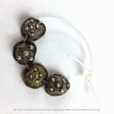 Rare Gilded Old Silver Mauritanian Beads in Various Designs - Rita Okrent Collection (C465rr)