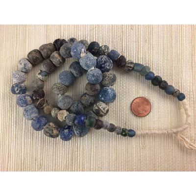 Ancient Excavated Islamic Period Blue Glass Beads, 26 Inch Strand, Mali  - Rita Okrent Collection (AG111e)