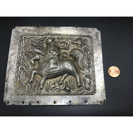 Antique Chinese Repousse Silver Plaque with Warrior on Decorated Horse - Rita Okrent Collection (C180)