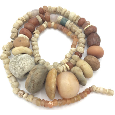 29 Inch Strand of Antique and Ancient Mixed Stone Beads from the Sahel Region of Africa - Rita Okrent Collection (S598)
