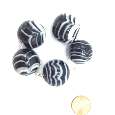 Set of 5 Large Black and White Art Glass Beads from Rita's Design Room - Rita Okrent Collection (C142c)