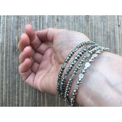 Granulated Saharwi Silver Bracelets from Southern Morocco - Rita Okrent Collection (BR047)