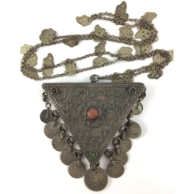 Antique Kurdish Decorated Silver Triangular Box Pendant with Hanging Coins and Carnelian Stone Setting on Chain, Anatolia - Rita Okrent Collection (NE425)