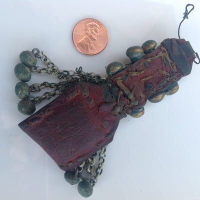 Harratine Gris Gris Leather Protective Amulet with Buttons, Shell, Chains and Brass, Morocco - P564