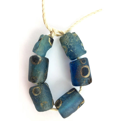 Strand of 6 Ancient Glass Tube-Shaped Islamic Blue Eye Beads, Mauritania - Rita Okrent Collection (AG140)