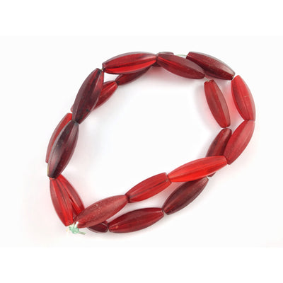 Old Red Faceted Oblong Glass Beads from the African Trade - RIta Okrent Collection (AT0779)