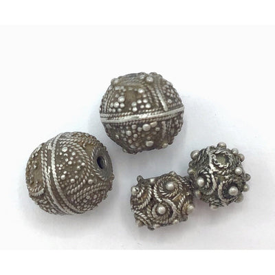Sample of 4 Small Mauritanian Beads, Two Styles, in Silver or Gilded Silver - Rita Okrent Collection (C466)