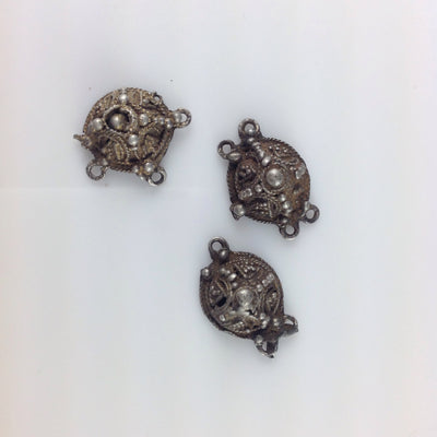 Old Mauritanian Silver and Gilded Silver Small Round Hanging Connector Pendants - P583