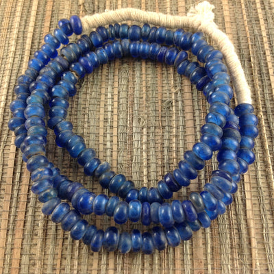Rich Blue Antique Dutch Glass Beads, Strand - ANT400
