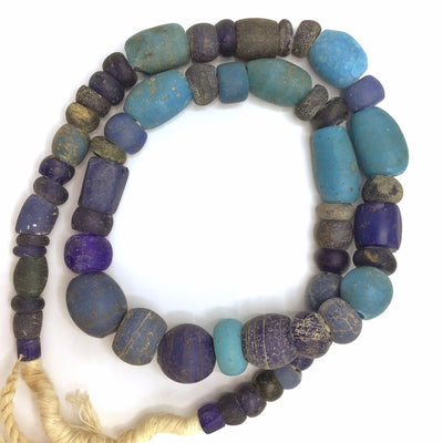 Antique Dutch Dogon Mixed Blue Glass Trade Beads, Mali  - Rita Okrent Collection (ANT329)