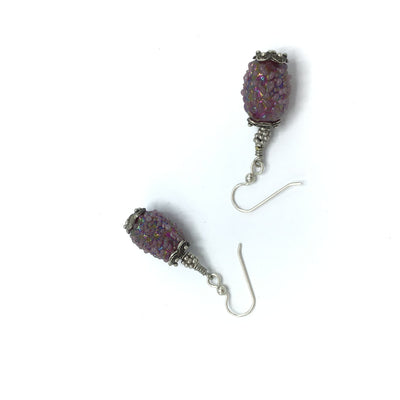 Vintage Purple Glass Sugar Beads, with Silver Beads from Bali - Rita Okrent Collection (E309b)