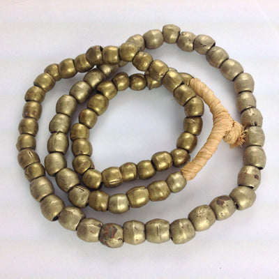 Nicely Worn Vintage Medium Nigerian Metal Brass Color Beads from the African Trade - AT1022