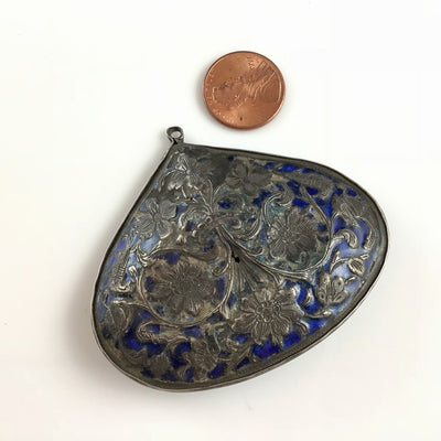 Antique Persian Blue Enameled Silver Brooch Pendant, Iran - Rita Okrent Collection (C558)