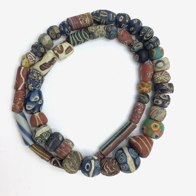 Superb Ancient Islamic Glass Beads Mixed with Some Very Nice African Trade Beads, Strand - Rita Okrent Collection (AG151)
