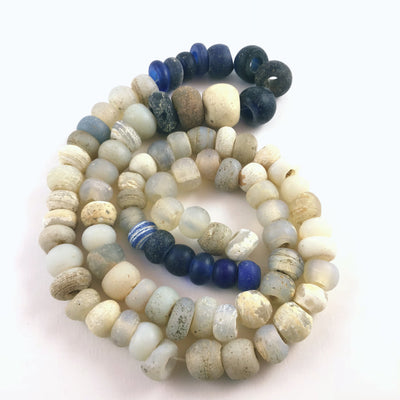 Strand of Antique Dutch Glass Opalescent Moon Beads with Dark Blue Dutch Glass Beads, Ethiopia - Rita Okrent Collection (ANT444)