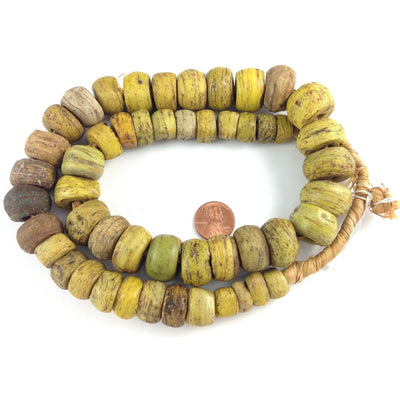 African Antique Yellow and Yellow-Green Hebron Kano Beads, Sudan - Rita Okrent Collection (AT0608b)