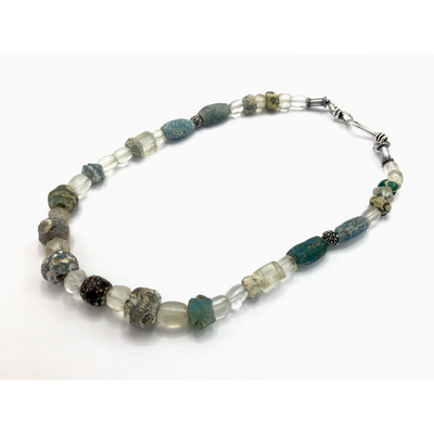 Necklace - Ancient Islamic Glass Beads, Bohemian Glass Beads and Mauritanian Silver Spacers - Rita Okrent Collection (NE381))
