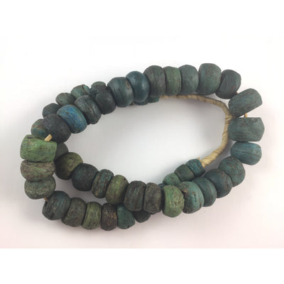 African Antique Blue Green Hebron Kano Beads, Sudan - RIta Okrent Collection (AT0608h)
