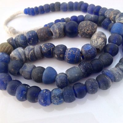 Antique Dutch Excavated Dogon Cobalt Blue Glass Trade Beads, Mali  - ANT327