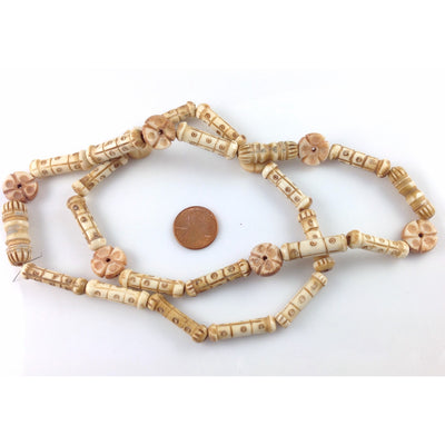 Old Hand-Carved Bone Beads, Ghana or Nigeria - Rita Okrent Collection (AT1555)