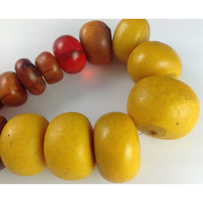Super Nice Graduated Mixed Orange, Brown and Yellow Faux Amber Beads, Strand, Morocco - AT0679