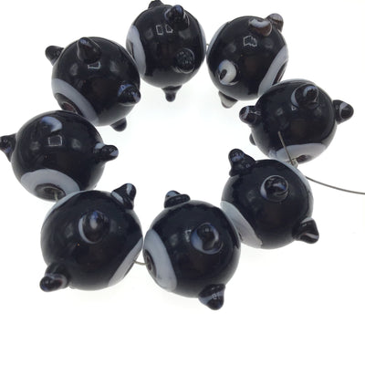 Black and White Matched Glass Art Beads, with Raised Eyes - Rita Okrent Collection (C326b)