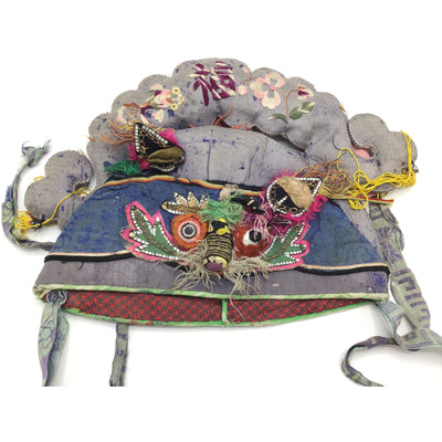 Gray and Blue Antique Chinese Children's Hat, Xian - Rita Okrent Collection (AA008)