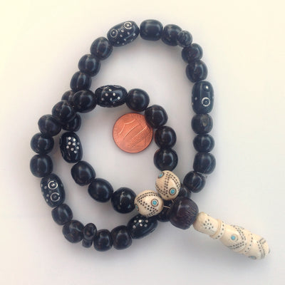 Red Sea Black Coral, Ebony and Bone Prayer Bead Strand with Inlaid Silver, Yemen - Rita Okrent Collection (C194)