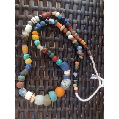 Long 32 inch strand of Mixed Antique European Glass Beads from the African Trade - AT0659