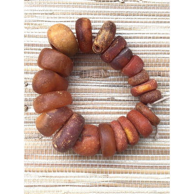 Strand of 20 Antique Baltic Amber Beads from Mauritania - Rita Okrent Collection (C477c)