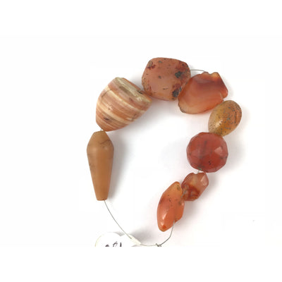 Mixed Ancient Carnelian Beads, Group of 8, Mali - Rita Okrent Collection (S114)