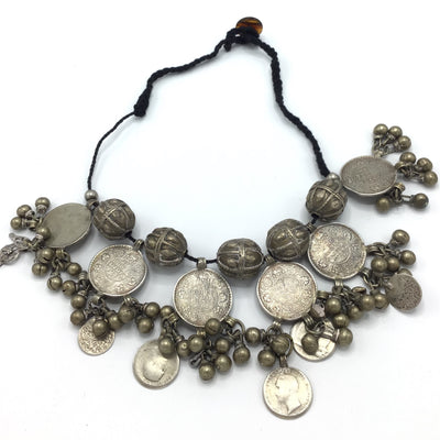 Yemeni Necklace with Large Silver Yemeni Beads and Indian Coin Dangles - Rita Okrent Collection (C545)