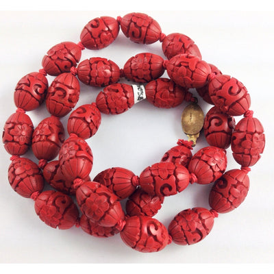 Carved Crimson Chinese Cinnabar Bead Necklace, 1900's, Hong Kong - ANT035