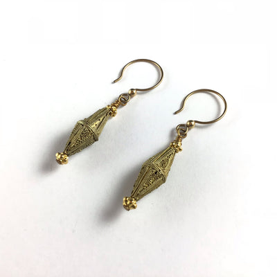 Mauritanian Gold-Washed Toucouleur Bicone Beaded Earrings - Rita Okrent Collection (E404d)
