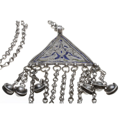 Traditional Uzbek Niello and Silver Chain Necklace Adorned with Bells - Rita Okrent Collection (C512)