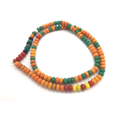 Bright Orange, Mixed Colors or Yellow Czech Glass Prosser Beads, Nigeria - Rita Okrent Collection (AT0665)