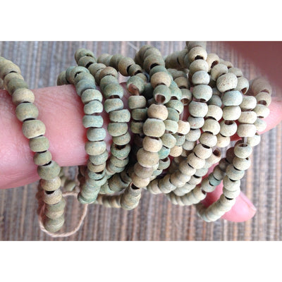 Rare Green-Hued Beige Antique Small Round Glass Excavated Beads, Europe via Mali - ANT321