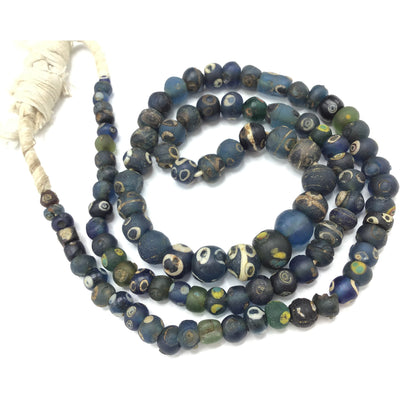 38 inch Mixed Long Strand of Islamic Glass Eye Beads from Mauritania or Mali - Rita Okrent Collection (AG225)