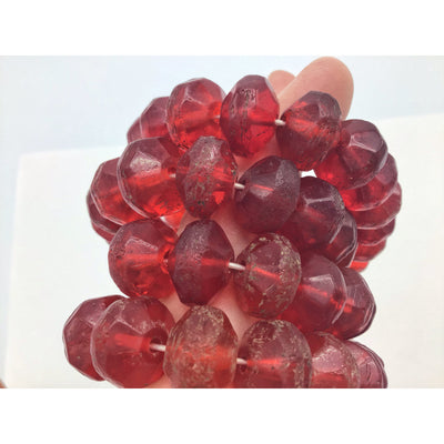 Vintage Red Bicone Vaseline Beads from the African Trade - Rita Okrent Collection (AT0297a)