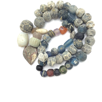 Ancient Islamic Glass Bead Strand with Antique Stone Pendants and Mixed Glass Beads - Rita Okrent Collection (AG227)