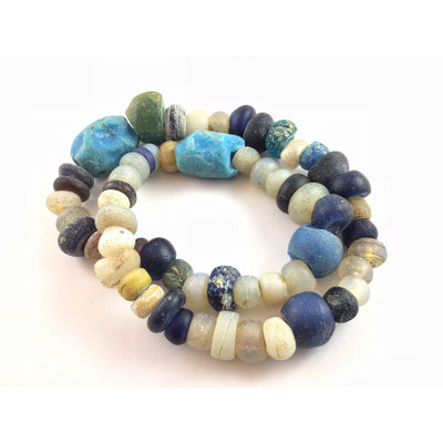 Dutch Glass Opalescent Moon Beads with Dark Blue Dutch Donuts and Large Blue Glass - Rita Okrent Collection (ANT445)