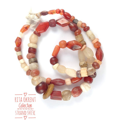 Mixed Ancient Rock Crystal, Quartz, Carnelian and Agate Stone Bead 28 Inch Strands from Mali - S403