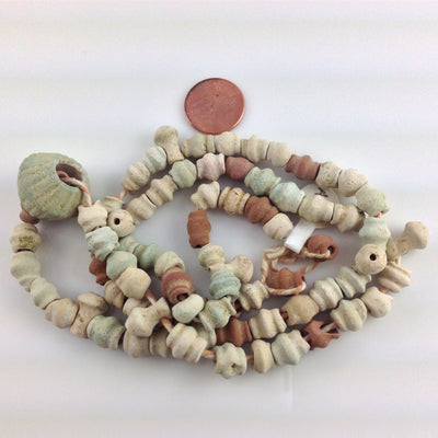 Ancient Iranian Faience Bead Strand with Large Ancient Melon Bead - Rita Okrent Collection (AN01)