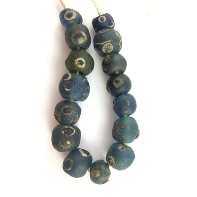 Ancient Blue Glass Islamic Eye Beads, Strand of 15, Mauritania - Rita Okrent Collection (AG146)