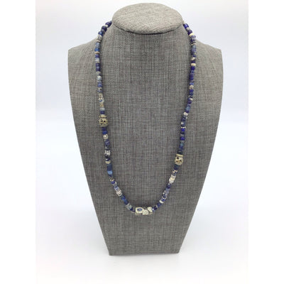 Deep Blue Nila Bead Necklace with Ancient Glass Islamic Eye Bead - Rita Okrent Collection (NE411)